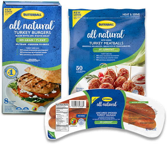 Butterball® All Natural Burger, Smoked Sausage and Meatballs